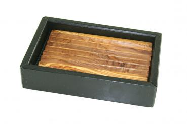 soap dish | olive wood & slate