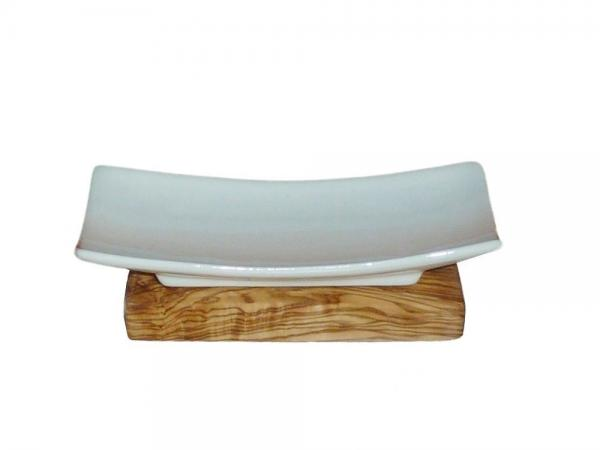 soap dish | olive wood & ceramic